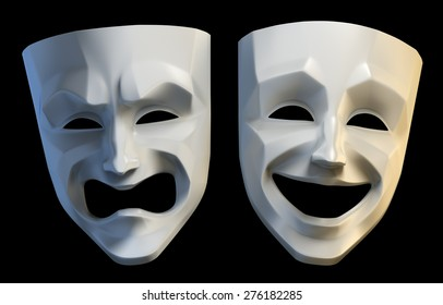 Tragicomic Theater Masks. Tragedy and comedy grotesque masks. 3D rendered image isolated on black background.