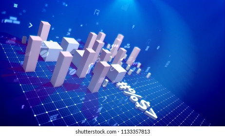A trailblazing 3d illustration of a bar chart and computer symbols including angle bracket, number, dollar and percent put diagonally on a rigid network in the blue background. The profit is surging.