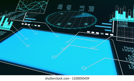A trailblazing 3d rendering of a plane scanner with a blue square, rows of numbers, histograms, pie charts, diagrams, and a big round screen placed aslant with a network and craft spots.
