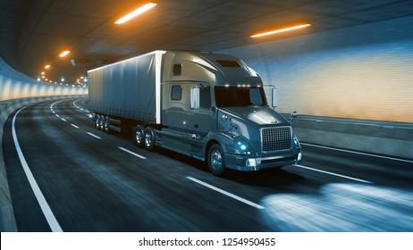 Trailer truck rides through tunnel warm yellow light 3d rendering