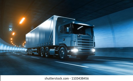 Trailer truck rides trough tunnel warm yellow light 3d rendering