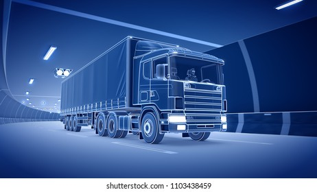 Trailer truck rides trough tunnel 3d rendering