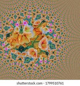 Ilustración fractal de flores de petunia en el sendero