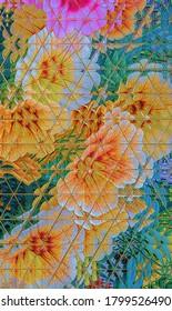 Flores de petunia en el sendero, arte triangular