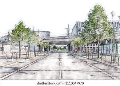 Train bridge across an empty street in downtown Berlin - Color pencil sketch drawing