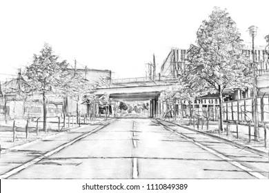 Train bridge across an empty street in downtown Berlin - Pencil sketch drawing