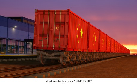 train with containers with the flag of China driving near the buildings of the logistics center-3D illustration