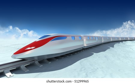 Train of the future with clouds on the background. My own design , no tridemarks.