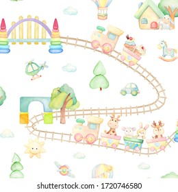 Train, giraffe, horse, deer, rabbit, mouse, donkey, balloon, house, bridge, helicopter, plane, car, cakes, tree. Watercolor seamless pattern, on an isolated background, in cartoon style.