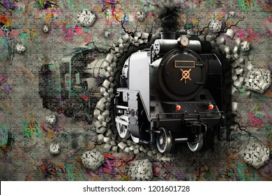 The train leaves the brick wall. 3d drawing. 3d rendering.
