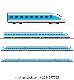 Train. Modern passenger express trains. Railway carriage. Railroad wagons.