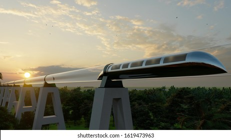Train of monorail Maglev Hyperloops inside a glass tube moves at high speed 3d render