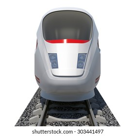 Train on isolated white background, front view