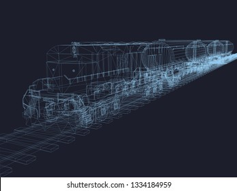 Train on rails with tanks. Train wireframe of blue lines on a dark background. Polygonal train with fuel tanks in isometric. 3D illustration
