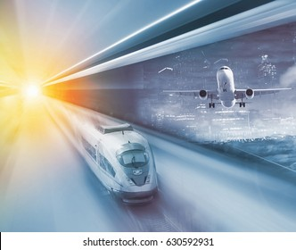Train and plane traveling with great velocity in modern times