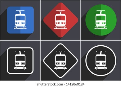 Train set of flat design web icons in 6 options