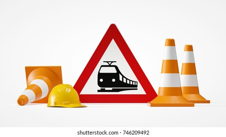 train sign with traffic cones 3d rendering