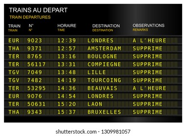 train station departure board. strike, cancel train. France, French Paris, gare de lyon