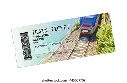 Train ticket - concept image on white background