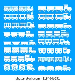 Train toy children icons set. Simple illustration of 16 train toy children icons for web