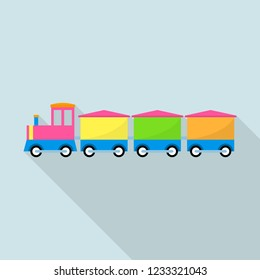Train toy with wagon icon. Flat illustration of train toy with wagon icon for web design