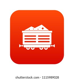 Train waggon with coal icon digital red for any design isolated on white illustration