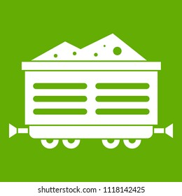 Train waggon with coal icon white isolated on green background. illustration