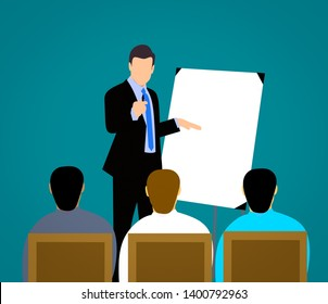 trainee pointing white board in business course