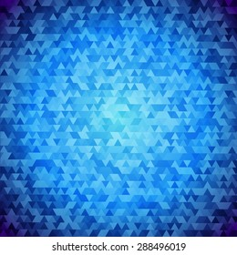 Traingle blue background.