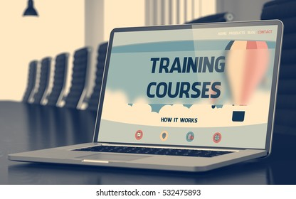 Training Courses on Landing Page of Mobile Computer Display. Closeup View. Modern Conference Hall Background. Blurred Image. Selective focus. 3D Render.