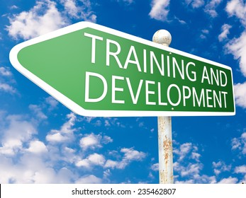Training and Development - street sign illustration in front of blue sky with clouds.