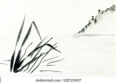 training drawing in sumi-e (suibokuga) style with watercolor paints - view of shore with mountain slope is hand drawn on creamy paper