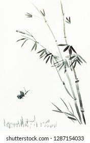 training drawing in sumi-e (suibokuga) style with watercolor paints - butterfly near bamboo bush is hand drawn on creamy paper