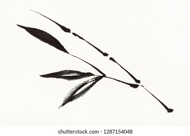 training drawing in sumi-e (suibokuga) style with watercolor paints - bamboo branch is hand drawn on creamy paper