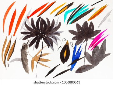 training drawing in sumi-e (suibokuga) style - brush strokes shaped leaves and chrysanthemum flowers by watercolors on white paper