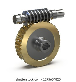 Training image of the worm gear assembly isolated on white background, 3d rendering