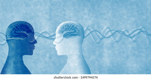 Training of people. Neuroscience development. Intelligence - cognition and education. 2 Human heads in silhouette profile. Concept of memory - neurology and psychology