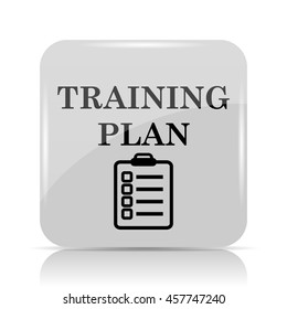 Training plan icon. Internet button on white background.