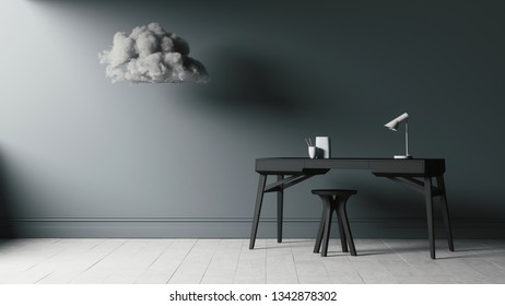 Training table in an empty room with a cloud. 3d illustration of a training table. College desk table with chair isolated in empty room.