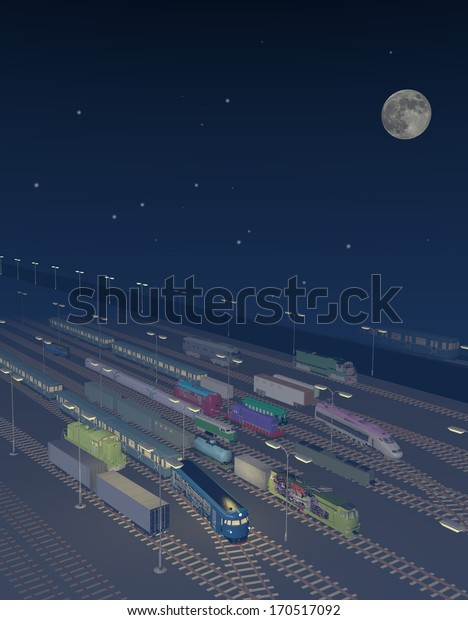 trains parking at night, we see a lot of sky with stars and a big moon, the trains are colorful, dreaming atmosphere, it's foggy, 3D illustration, raster illustration