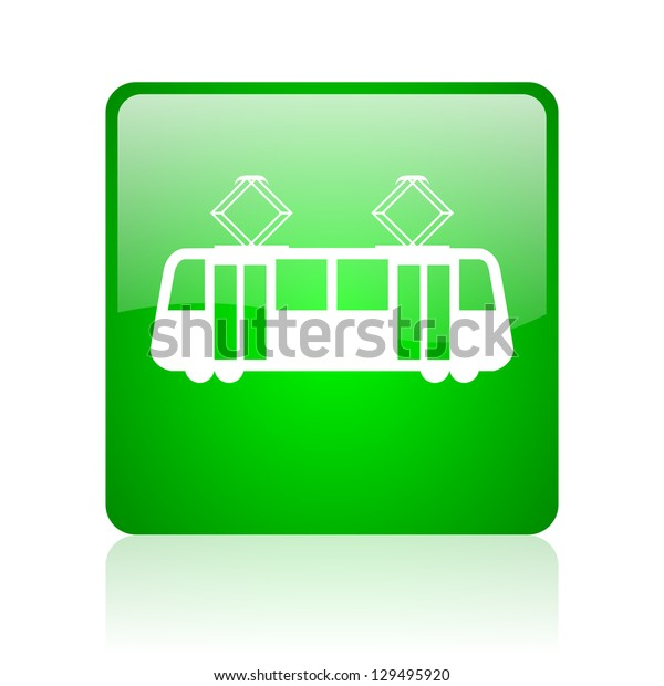 tram green square web icon on white background