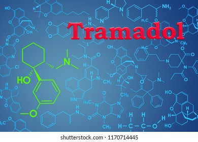 Tramadol. Chemical formula, molecular structure. 3D rendering