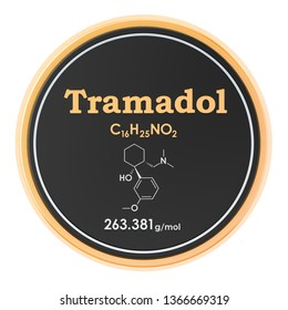 Tramadol. Chemical formula, molecular structure. 3D rendering isolated on white background