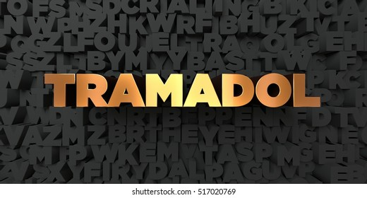 Tramadol - Gold text on black background - 3D rendered royalty free stock picture. This image can be used for an online website banner ad or a print postcard.