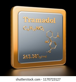 Tramadol. Icon, chemical formula, molecular structure. 3D rendering