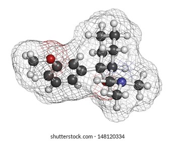 Tramadol opioid analgesic drug, chemical structure. Atoms are represented as spheres with conventional color coding: hydrogen (white), carbon (grey), oxygen (red), nitrogen (blue)
