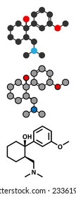 Tramadol opioid analgesic drug molecule. Conventional skeletal formula and stylized representations.