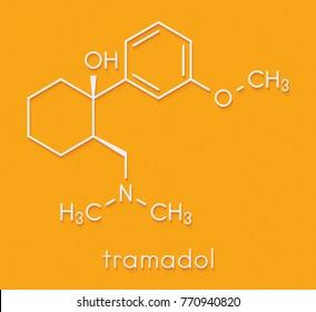 Tramadol opioid analgesic drug molecule. Skeletal formula.