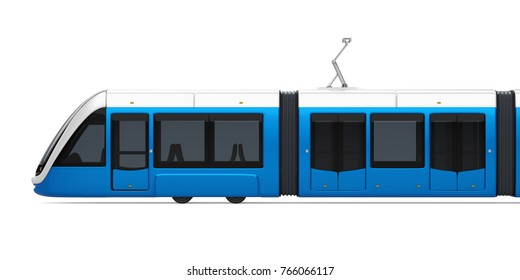 Tram-Train Isolated (side view). 3D rendering