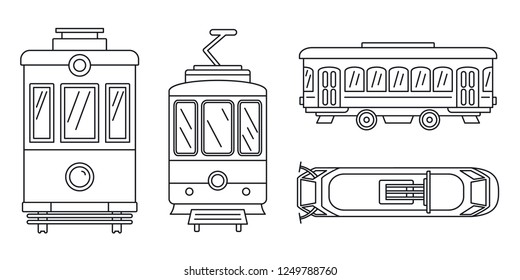 Tramway icon set. Outline set of tramway icons for web design isolated on white background